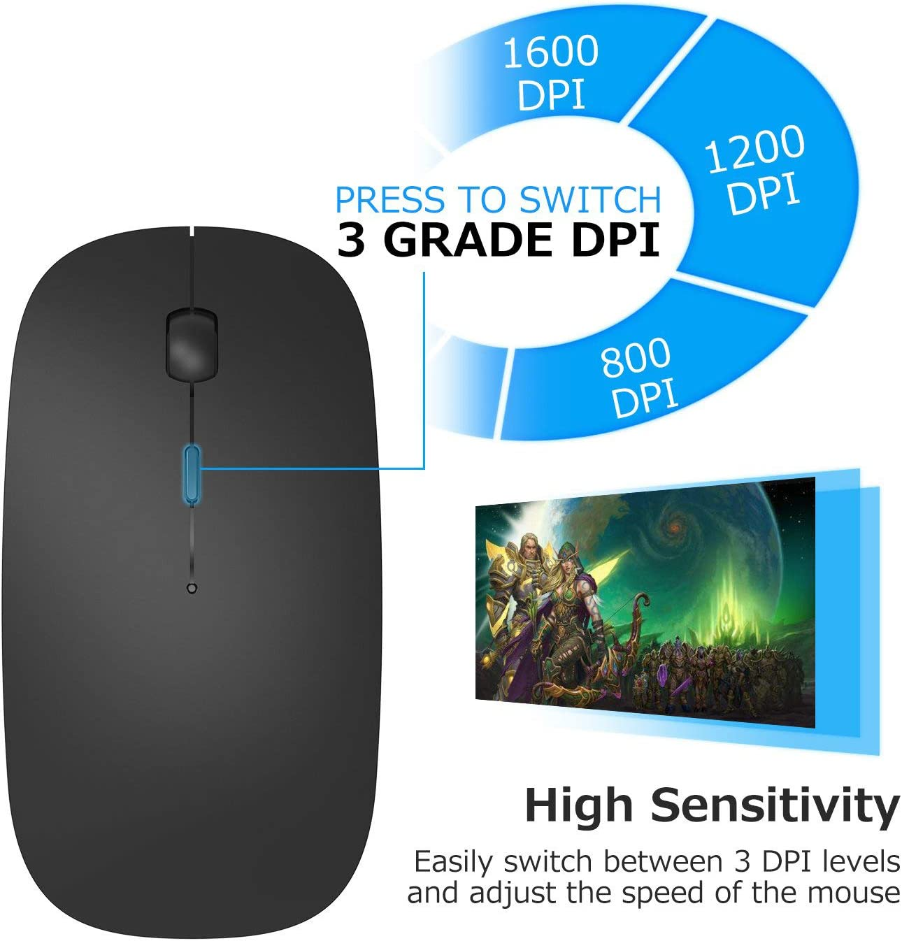 PC Laptop Silver MacBook Ultra-Thin 2.4G Office Wireless Mouse Mute Charging Mouse Notebook Home Mouse with USB Receiver Compatible for Notebook Computer