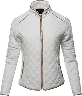 Awesome21 Women's Long Sleeves Zipper Closure Quilted Fleece Lining Puffer Jacket