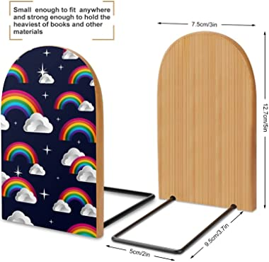 Rainbow and Clouds Pattern Book Ends for Shelves Wooden Bookends Holder for Heavy Books Divider Modern Decorative 1 Pair