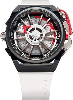 Mazzucato Montre pour homme réversible automatique et chronographe avec bracelet en caoutchouc FKM Blanc 13-WHCG10