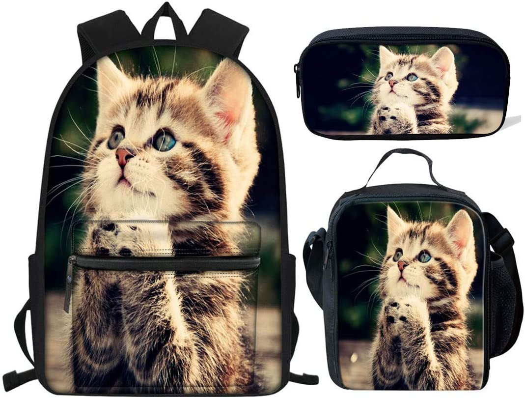 HUGS IDEA Pray Cat Print Backpack Set Teen Girls C Cute お買い得 日本正規品 Boys for