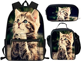 HUGS IDEA Pray Cat Print Backpack Set for Teen Girls Boys Cute Cute Kids School Bag with Lunchbox Pencil Case