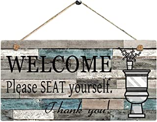 m·kvfa Welcome Please SEAT Yourself Printed Wooden Plaque Sign Wall Hanging Welcome Sign Wall Door Decoration Wooden Hanging Board DIY Birthday Presents