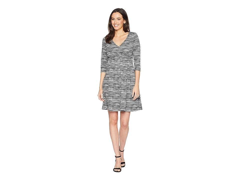 London Times Long Sleeve Fit Flare Dress (Black/Grey) Women
