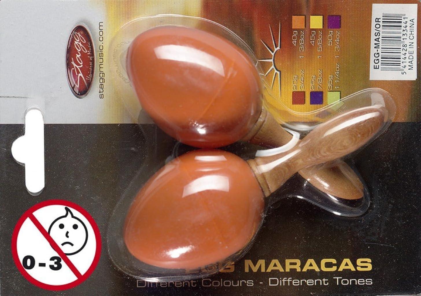 Stagg EGG-MA Plastic Egg Maracas Pair with Long Handle - Orange