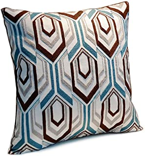 Riverbyland Linen Decorative Pillows Cover Blue and Brown Embroidery 17