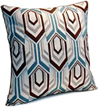 Riverbyland Linen Decorative Pillows Cover Blue and Brown Embroidery 17x17
