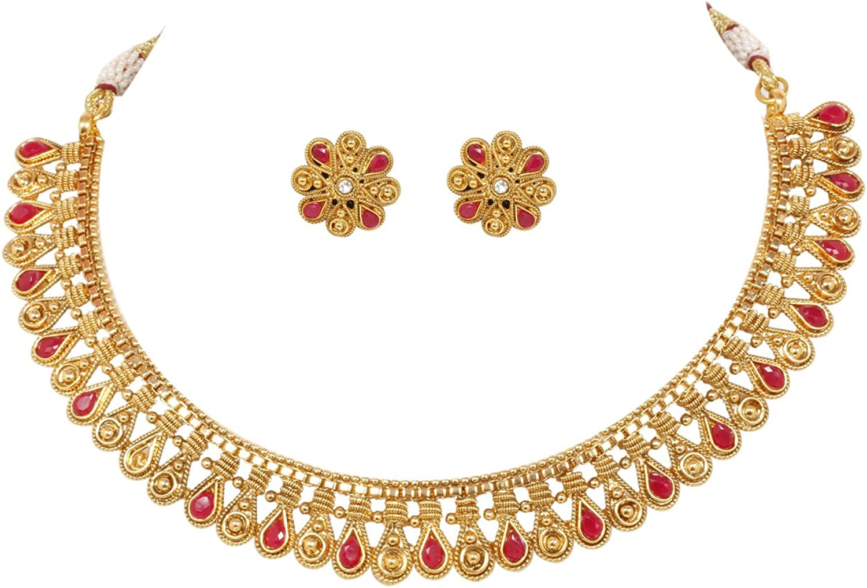 Ratna creation SANARA Indian Bollywood Gold Plated Polki Traditional Sleek Necklace & Earring Set Women Wedding Partywear Jewelry (Gold)