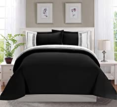 Celine Linen Luxury Super-Soft Coziest 1500 Thread Count Egyptian Quality 3-Piece Greek Embroidered Duvet Cover Set, (Insert Comforter Protector) Wrinkle-Free, Full/Queen, Black/White