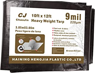 ChaoJin Tarps Heavy Duty Waterproof 9-mil Thick Multi-purpose Boat Camping Tent Cover Tarp Poly Tarpaulin 10'x12' Brown/Silver