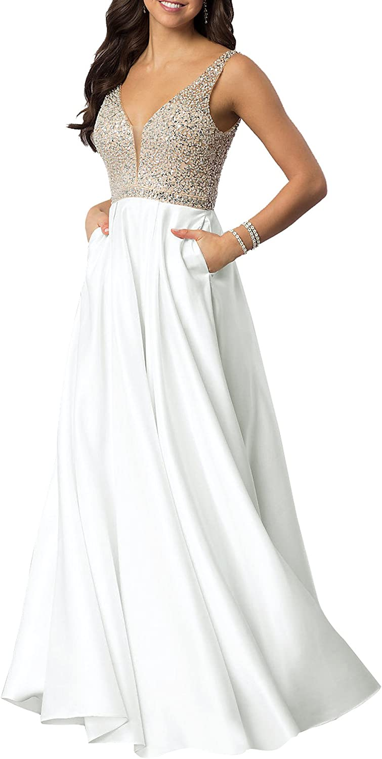 Beauty Bridal Womens V Neck Beaded Satin Prom Dresses With Pockets Sequined Formal