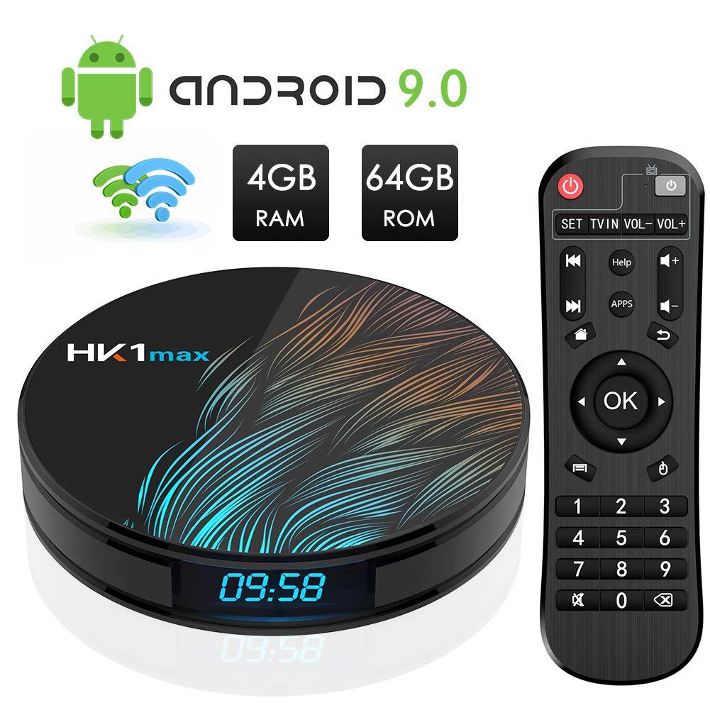 Android TV Box, HK1 MAX RK3318 Quad-Core Android 9.0 TV Box 4GB RAM/64GB ROM Soporte 2.4Ghz/5.0 GHz WiFi Bluetooth 4.0, 4K HDMI DLNA 3D Smart TV Box: Amazon.es: Electrónica