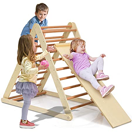 Costzon Foldable Triangle Ladder with Ramp, 3 in 1 Toddler Wooden Activity Climber for Sliding & Climbing, Safety Kids Indoor Toddler Climbing Toys, Suitable for Children Boys Girls (Natural)