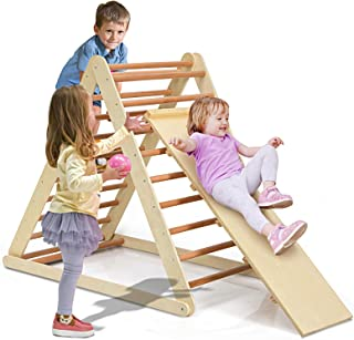Costzon Foldable Wooden Climbing Triangle Ladder for Sliding & Climbing, 2 in 1 Triangle Climber with Safety Climbing Ladd...