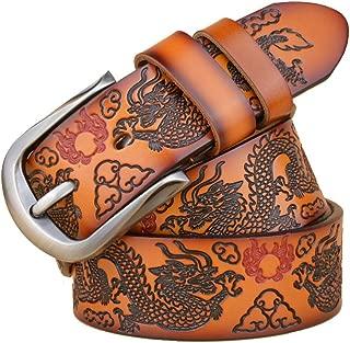 Men's Dragon Design Leather Reversible Belt Gift