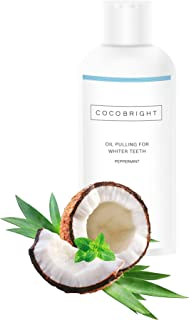 Oil Pulling Teeth Whitening by COCOBRIGHT | 100 ml I Peppermint Flavour | Teeth Detox and Plaque Remover | Dental Hygiene and Oral Health Care | Bad Breath Remedy