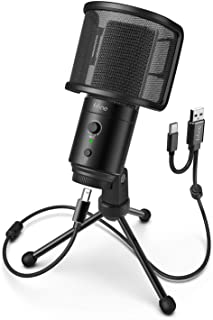 FIFINE USB Desktop PC Microphone with Pop Filter for Computer and Mac, Studio Condenser Mic with Gain Control Mute Button ...