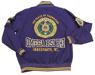 40435c029da8f Omega Psi Phi Purple Leather Varsity Lettermen Trimmed Fraternity Mens Big    Tall Jacket