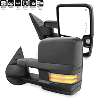 For 07-13 Silverado Sierra Pair of Powered + Heated Glass + Sequential Turn Signal Side Black Towing Mirrors