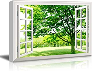 wall26 - Canvas Wall Art - Window Facing a Forest with Green Trees - Giclee Print Gallery Wrap Modern Home Decor Ready to Hang - 24x36 inches