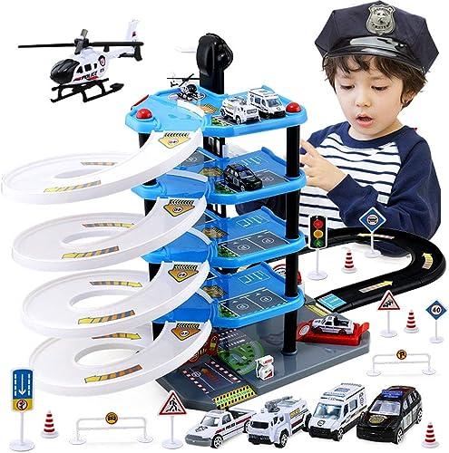 calidad garantizada Estación de policía, juguete educativo del juego juego juego de juguete del departamento de bomberos, estacionamiento de 5 pisos, juego de garaje definitivo, juguete de garaje de elevación, carro de juguete de pi  Ahorre hasta un 70% de descuento.