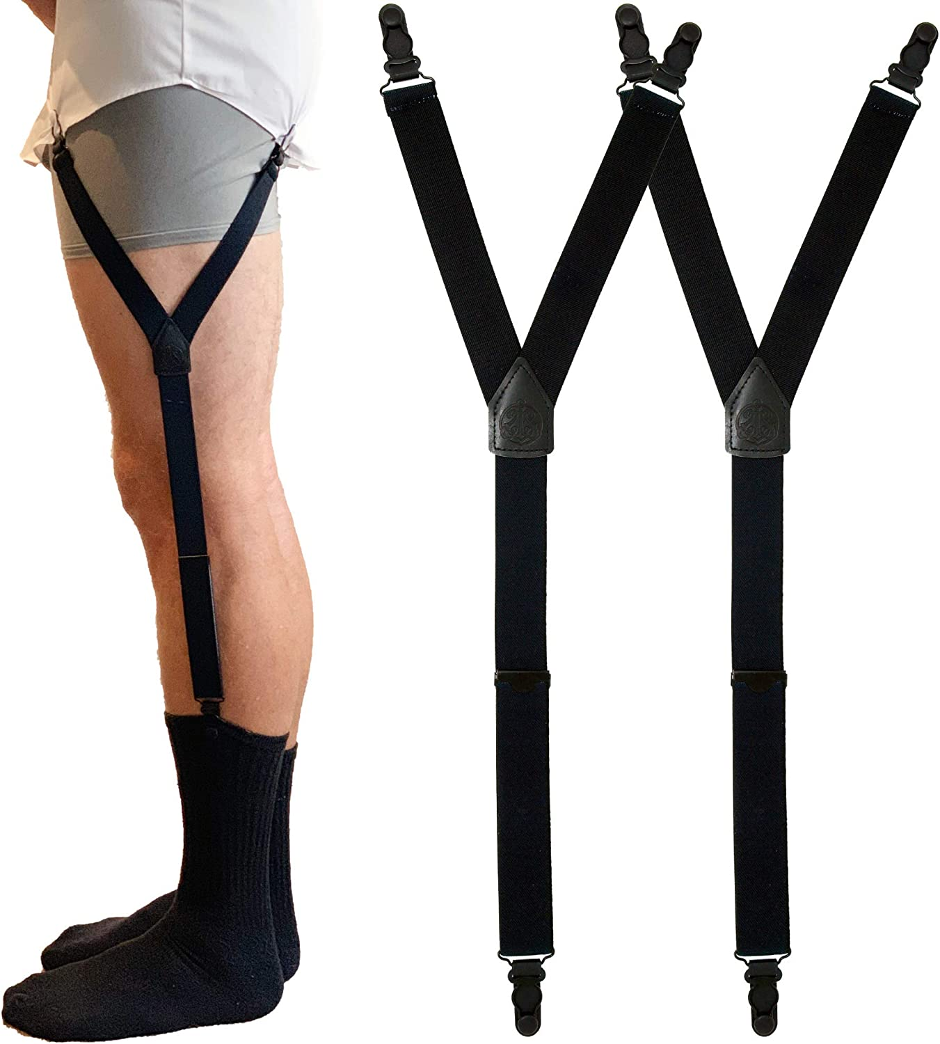 SIVEL + SHARP Shirt Stays   Fancy Leather Patches, Adjustable & Elastic Shirttail Suspenders With Strong Metal Clips