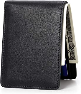 RFID Genuine Leather Slim Bifold Wallet Minimalist Men Purse Card Case