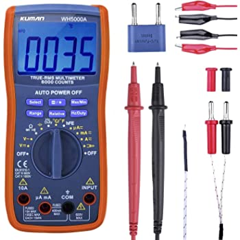 Kuman Digital Multimeter,True RMS 6000 Counts Multimeters Manual Auto Ranging,Measures Voltage,Current,Resistance,Tests Diodes,Frequency,Transistor
