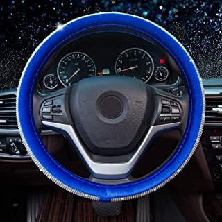 2020 New Steering Wheel Cover Soft Velvet Feel Bling Steering Wheel Cover for Women Universal 15 inch Plush Wheel Cover