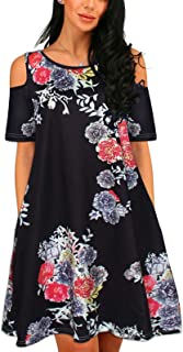 Women Casual Print Cold Shoulder Short Sleeve T-Shirt Swing Plus Size Dresses with Pockets