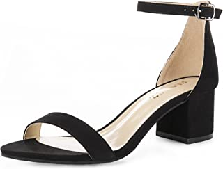 Women's Single Band Classic Chunky Block Low Heel Pump Sandals with Ankle Strap Dress Shoes (Half Size Large)