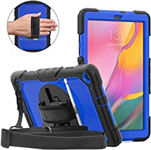 DUNNO Case for Samsung Galaxy Tab A 10.1 Inch 2019(SM-T510/T515) - Heavy Duty Full Body Cover with Built-in Kickstand Shockproof Multiple Viewing Angles (Black/Blue)