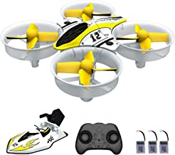 2 in 1 Mini Drone Nano Quadcopter with Rc Car Mode 2.4ghz 6 Axis Gyro Drones for Kids and Beginners, Pocket Helicopter with Altitude Hold, Headless Mode, One Key Return, 3D Flips with 3 Batteries