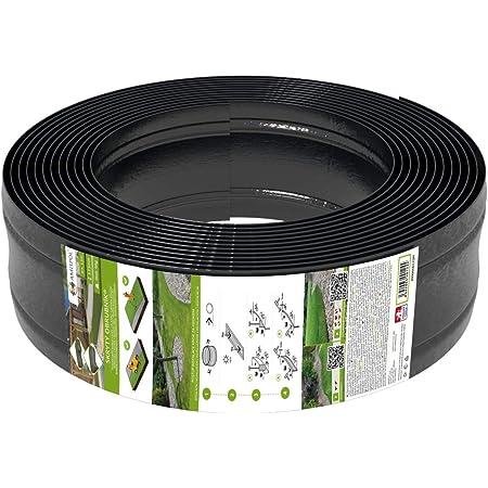 AMISPOL Elastische Rasenkante Kunststoff schwarz 12 m (125/4 mm) - Beeteinfassung Rund - Beetumrandung für Kurven - Blumenbeet Umrandung unsichtbar - Rasen und Beetbegrenzung aus stabilem Plastik