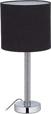 Relaxdays 10028406 chevet, Lampe, Abat-jour rond, Eclairage de table, Ampoules E27, H x D : 50 x 23 cm, noir, métal, tissu, verre, 1 élément