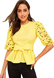 Women's Elegant Hollow Out Belted Knotted Ruffle Peplum Blouse Top