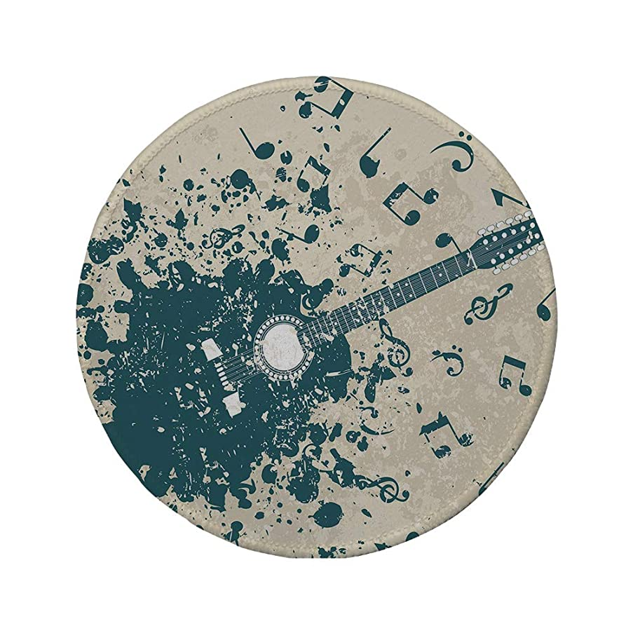 Non-Slip Rubber Round Mouse Pad,Modern,Acoustic Guitar on Retro Murky Background with Music Notes Melody Illustration,Beige Dark Blue,11.8