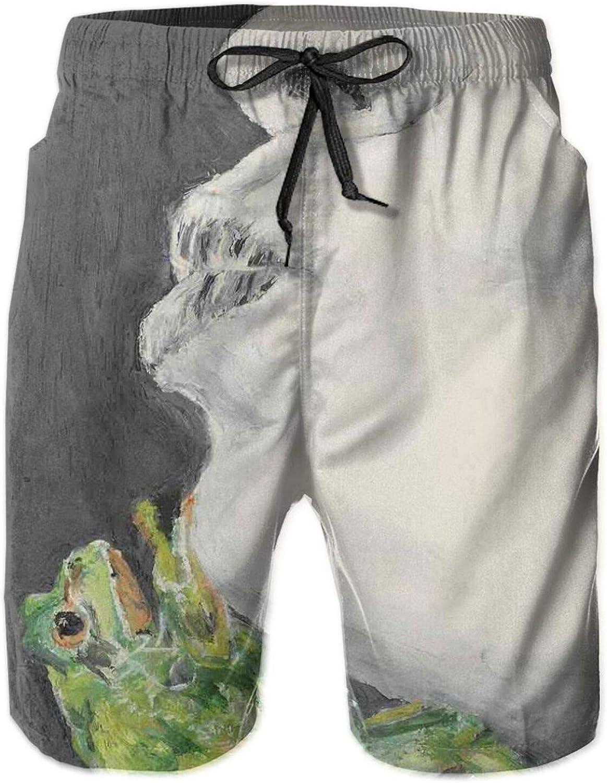 Drawing of Lady Kissing The Frog Prince Soul Mates Love Boho Animal Artwork Mens Swim Trucks Shorts with Mesh Lining,XXL