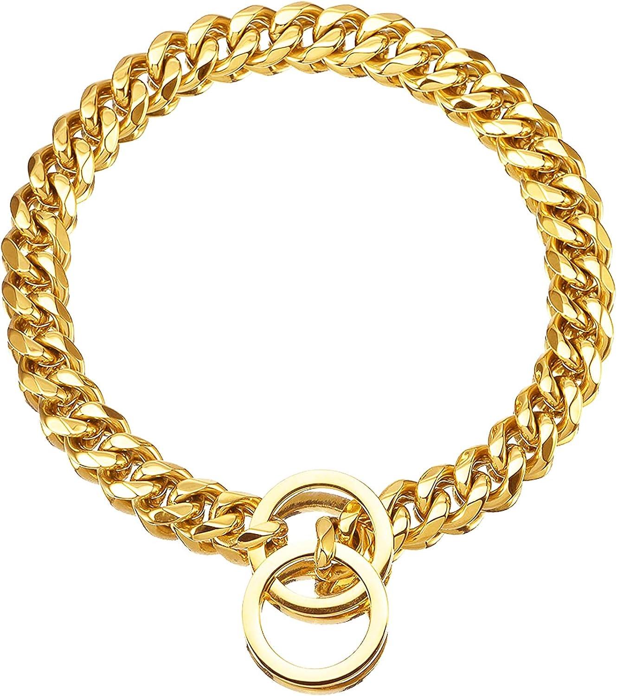 Havenfly Collar de Oro para Mascotas, Collar de Cadena Deslizante de eslabones metálicos de Acero Inoxidable Fuerte Ajustable de 18 Quilates para Perros pequeños medianos Grandes (A, 20'')
