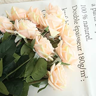 JOEJISN Artificial Flower Roses Fake Roses 12pcs Real Touch Artificial Roses Silk Artificial Roses Long Stem Bridal Wedding Bouquet for Home Garden Office Wedding Decorations (Champagne)