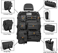 Opall Universal Front Seat Cover with Storage Bags Multi-Compartments Holder Pockets Molle Pouches Stuff Organizer for Jeep Wrangler JK JL Ford Toyota Jeep Cherokee (9 PCS)