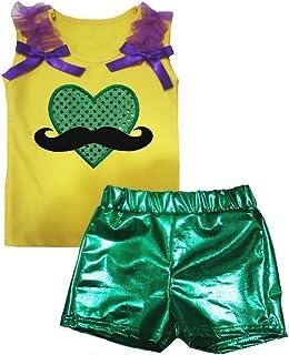 Petitebella Girls' Mustache Heart Shirt Green Bling Short Set
