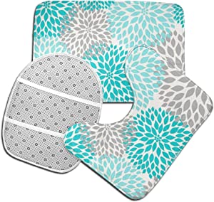 Vbcdgfg Bathroom Rugs Sets 3 Piece Modern Turquoise Teal Gray Floral Bathroom Rugs Mats Set 3 Pieces Bath Rugs for Bathroom Washable U-Shaped Contour Rug Mat and Lid Cover