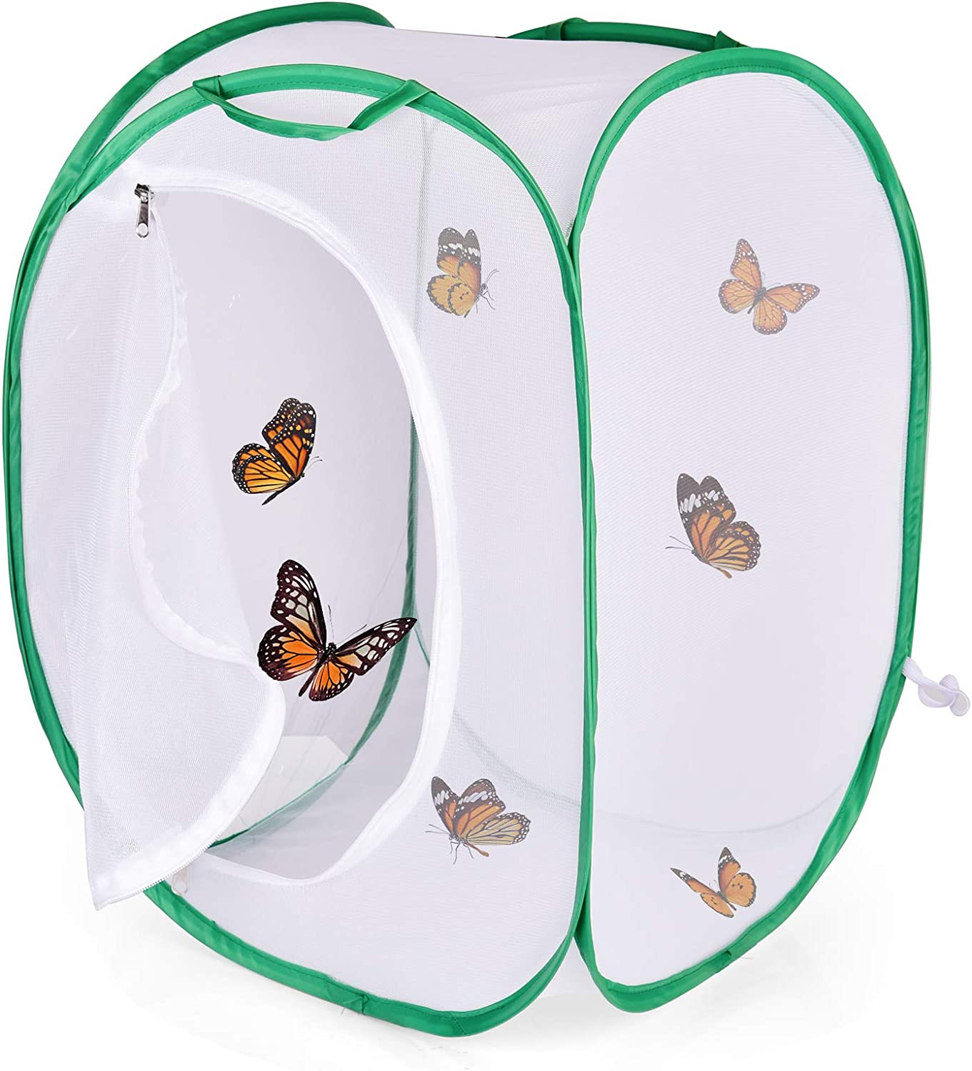 FUN LITTLE TOYS Square Butterfly Cage Set, Insect and Butterfly Habitat Cage, Collapsible Caterpillar Habitat, 23 in Tall Without Living Butterfly