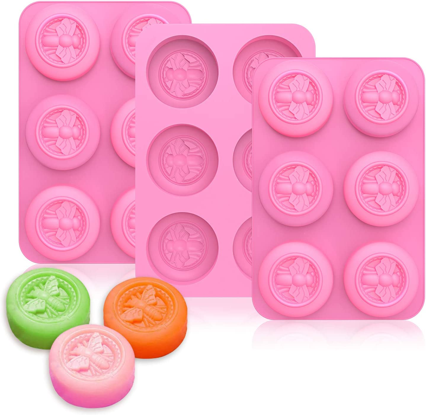 Acerich 3 Pack Bee Silicone Round Mak Soap Industry specialty shop No. 1 Molds for