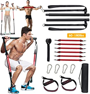 SAIVEN 60-180LBS Adjustable Home Gym Pilates Bar Kit with Anti-Break Resistance Band, Portable Yoga Pilates Stick for Full...