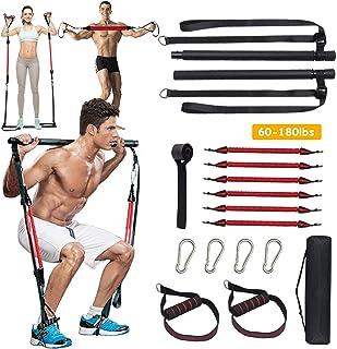 SAIVEN 60-180LBS Adjustable Home Gym Pilates Bar Kit with Anti-Break Resistance Band, Portable Yoga Pilates Stick for Full...