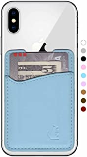 Premium Leather Phone Card Holder Stick On Wallet for iPhone and Android Smartphones (Pastel Blue Leather)