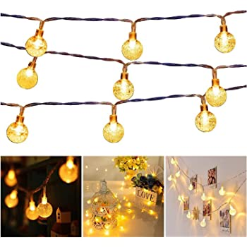 33 FT 80 LED Battery Operated Globe Ball String Lights Fairy String Lights Decor for Bedroom Patio Indoor & Outdoor Party Wedding Christmas Tree Garden Lawn Landscape with Remote Warm White