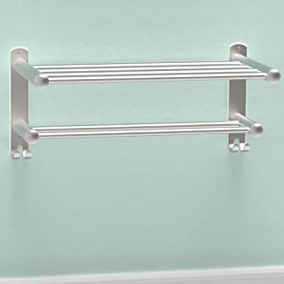 SAFETY+BEAUTY Double Bathroom Towel Rack, Stainless Steel Constructed Rust-Proof Shelf with Built-in Bar and Hooks, 16 inc...